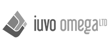 the iuvo omega logo black white gray
