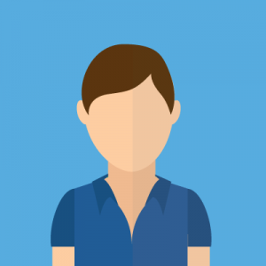 profile of a cartooned man with brown hair and blues shirt on light blue background