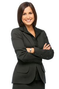 woman welcome suit black hair black shirt smile teeth