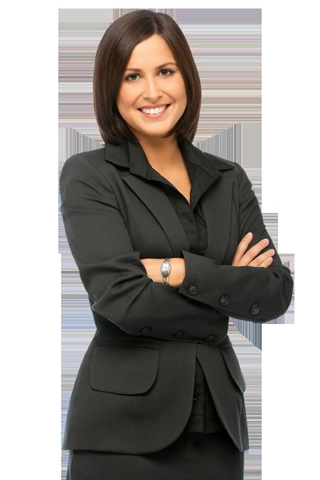 woman welcome suit black hair black shirt smile teeth